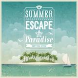 Fototapety Vintage seaside view poster. Vector background.