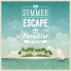 Vintage seaside view poster. Vector background.