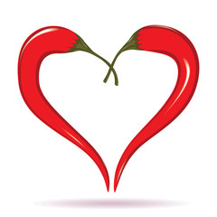 Two chili peppers forming a shape of heart. Hot lover symbol.