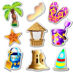 Summer Holidays Stickers-Spiaggia Mare Oggetti etichette