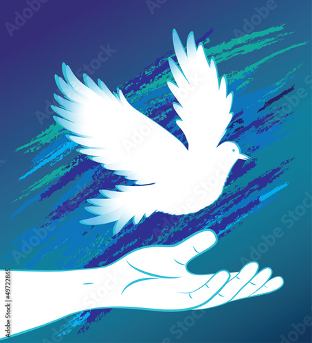 Hand image and bird, pigeon, dove.