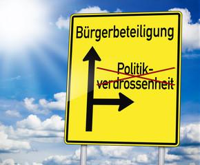 Wegweiser mit Bürgerbeteiligung und Politikverdrossenheit
