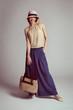 Elegant stylish girl in retro dress