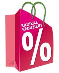 Reduziert, Tragetasche; Einkaufstuete; shoppen; einpacken; Proze