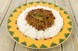 Chili Con Carne: Minced beef stew with chilies & beans over rice