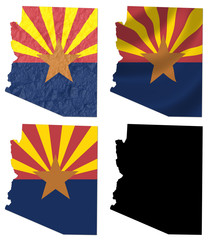 US Arizona state flag over map collage