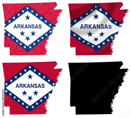 US Arkansas state flag over map collage