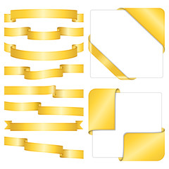 Set of different golden ribbons on white background