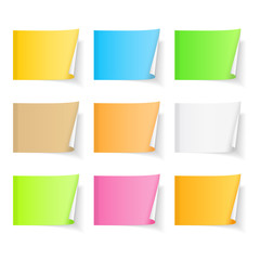 Set of blank colored sticky notes with curl