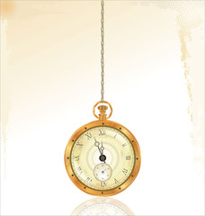 Old pocket watch on golden chain