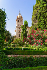 Tower of St. Mary Church, Alhambra of Granada/ Spain. 17th centu