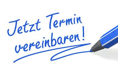 Stift- & Schriftserie: Jetzt Termin vereinbaren! blau