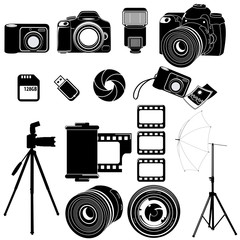 photography icons black & white set