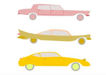 Sylwetki samochodów w stylu retro na białym tle.