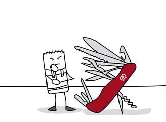 Personnage qui cherche un outil dans un couteau suisse