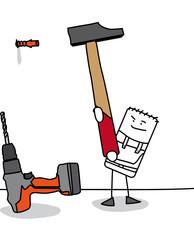Personnage qui utilise un marteau pour enfoncer une cheville