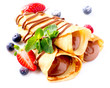 Crepes With Chocolate Cream and Berries