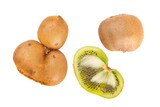 Fresh kiwis with funny deformations