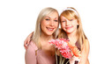 Happy mother and daughter with flowers isolated