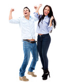 Successful couple celebrating