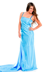 Woman in a prom dress