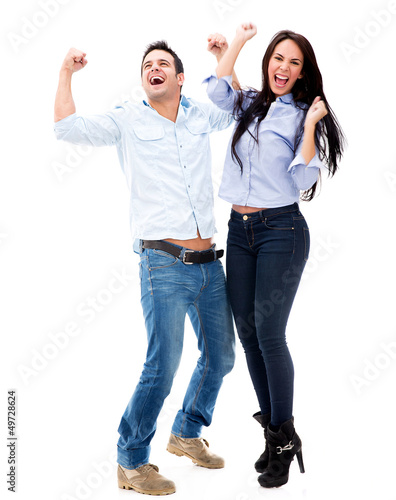 Successful couple celebrating