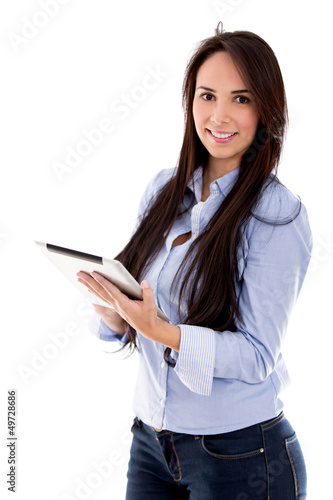 Casual woman using a tablet