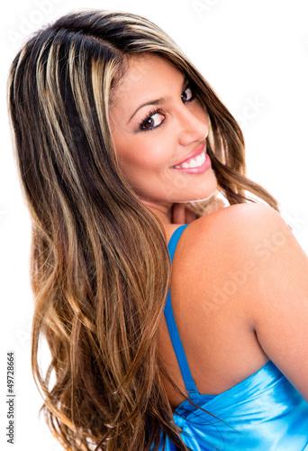 Flirtatious woman smiling