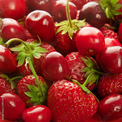 Strawberry and cherry  background