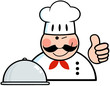 Winked Chef Logo With Platter Showing Thumbs Up