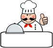 Winked Chef Logo Banner With Platter Showing Thumbs Up