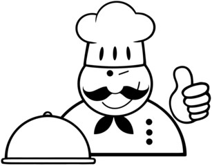 Outlined Winked Chef Logo With Platter Showing Thumbs Up