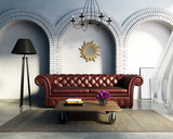 White luxury living room with leather sofa, rug, mirror,