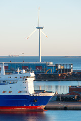 Cargo port ship windmill