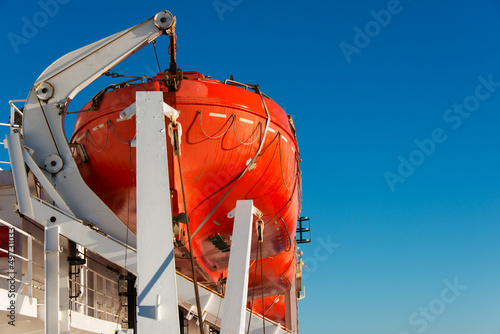 Lifeboat on a cruise ship close up