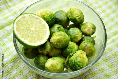 Fresh Cooked Bussel Sprouts in a Bowl with Lime