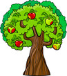 apple tree cartoon illustration