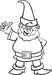 gnome or dwarf cartoon for coloring book