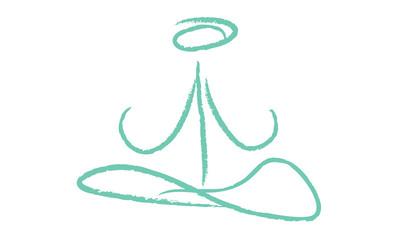 Yoga logo simple bleu