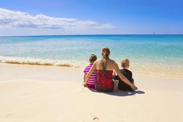 Family on a beautiful beach vacation