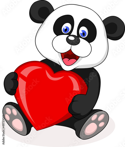 Panda bear with red heart