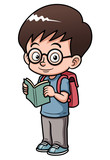 illustration of Boy go to school