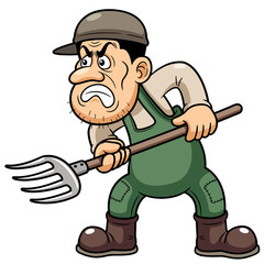 illustration of Cartoon Farmer angry