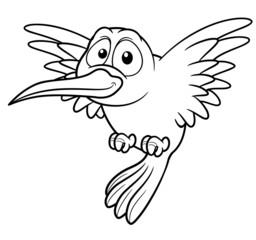 illustration of Cartoon Hummingbird - Coloring book