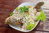 Herb salad with deep fried fish (Thai fusion and healthy food) poster
