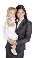 Portrait of businesswoman with her child. Isolated on the white