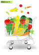 Vector Shopping cart with fruits and vegetables