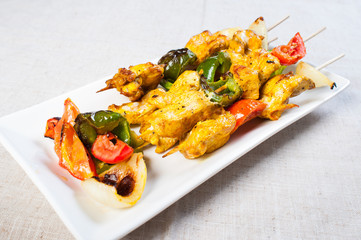 chicken kebab on a stick