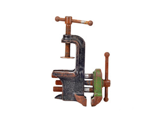 Vintage mechanical hand vise clamp, isolated on white background