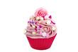 Pink Cupcake mit Deko Toppin
